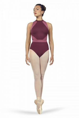 BLOCH Ladies Dance Halter Neck Open Back Leotard Alia L4965 Dewberry Pink